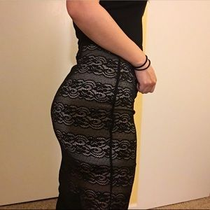 Lace pencil skirt (nude underskirt included)